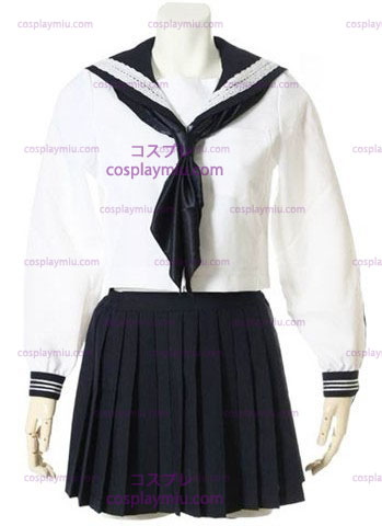 Branco mangas compridas Escola Sailor Cosplay Uniforme