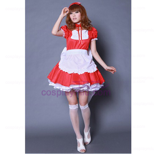 Red bowknot Maid Lolita Outfit / Cosplay Costumes Maid