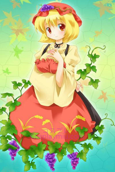 Touhou Project Aki Minoriko bonito curto Blond inferior Cosplay Peruca